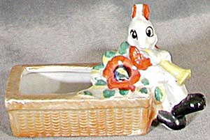 Vintage Luster Bunny Pin Cushion / Easter Dish