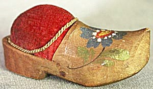Vintage Wooden Shoe Pin Cushion