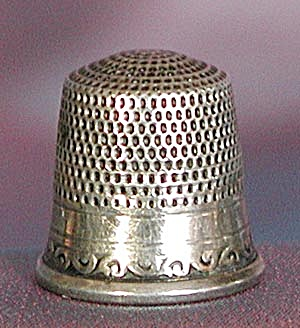 Vintage Embossed Sterling Thimble