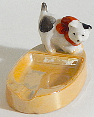 Vintage Luster Cat Ashtray