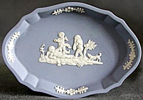 Vintage Wedgwood Blue Jasper 3 Cupids & Dog