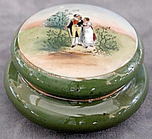 Vintage Round China Box With Lovers