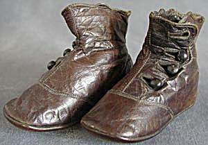 Victorian Brown High Button Baby Shoes