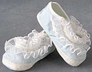 Vintage Blue Cloth Baby Shoes