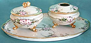 Antique Hand Painted With Pink Roses Dresser Set