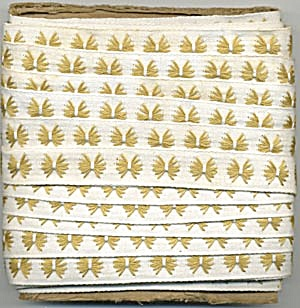 Vintage Gold & White Embroidered Trim