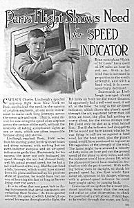 1927 Lindbergh Lindy Aviation Mag. Article