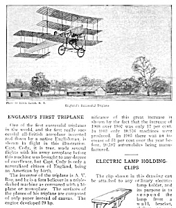 1910 England First Triplane Aviation Mag. Article
