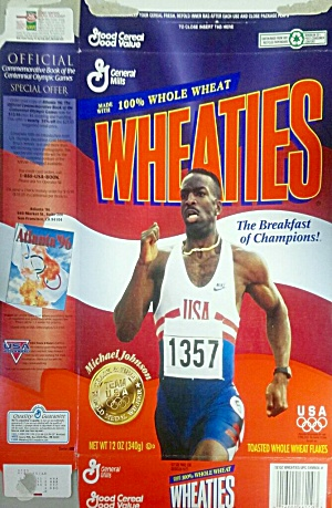 Wheaties Cereal Box 1996 Michael Johnson Usa Olympics 12 Oz
