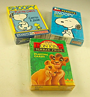 2 Mip Decks Snoopy Playing Cards And 1 Deck Lion King Playing Cards