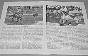 1927 Cowboy Wild West Rope Tricks Mag Article