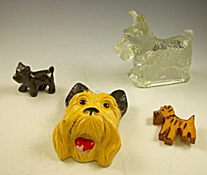 Box Lot Of 4 Pc Scottie Dog Collectibles - Vintage