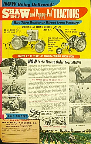 1946 Shaw Mfg. Co. Galesburg, Ks Du-all And Peppy Pal Farm Tractors