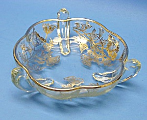 Beautiful Vint. Silver Overlay Raised Candy-nut Dish