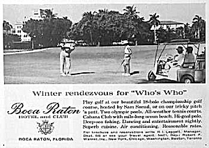 1961 Boca Raton Florida Golf Club Ad