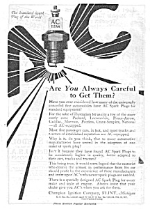 1919 Ac Spark Plug Sparkplug Automotive Ad