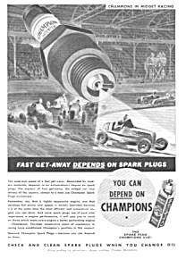 1937 Champion Spark Plugs Ad - Racing Theme