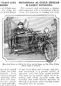 1926 Motorcycle With Boat Sidecar Mag. Article