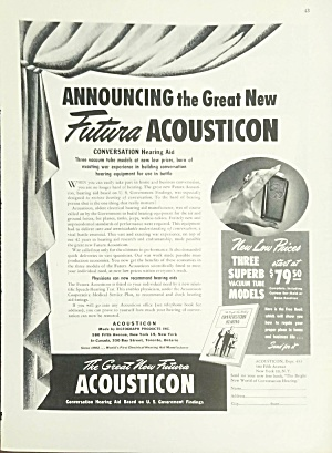 1945 Acousticon Hearing Aid Print Ad