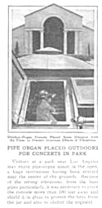 1927 Los Angeles Outdoors Pipe Organ Mag. Article