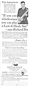 1926 Lyon And Healy Saxophone Music Room Ad