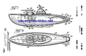 Patent Art: 1950s Toy Submarine - Matted