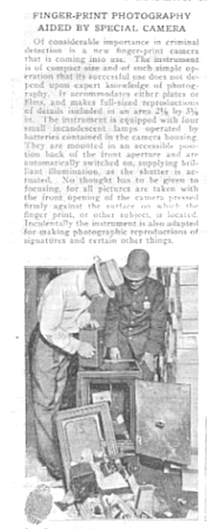 1919 Finger Print Id Aided By Special Camera Article