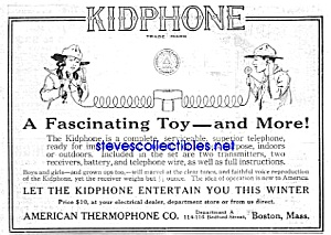 1920 Kidphone Toy Telephone Mag Ad