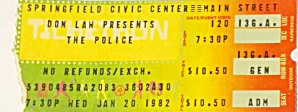 Vintage 1982 The Police Concert Ticket Stub