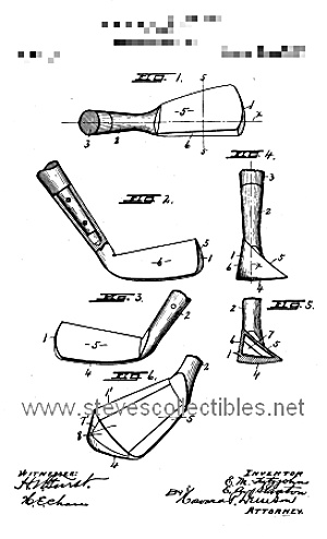 Patent Art: 1918 Golf Club Design - Matted For Framing