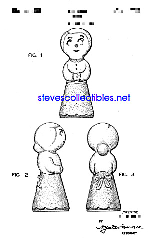 Patent Art: 1940s Shawnee Pottery Sock Darner Doll