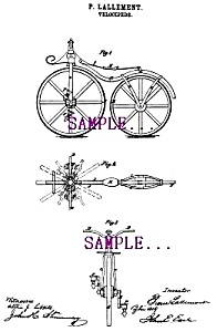 Patent Art: 1860s First Bicycle - Matted Print