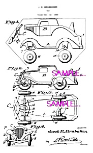 Patent Art: 1930s Hubley Toy Car - Matted Print