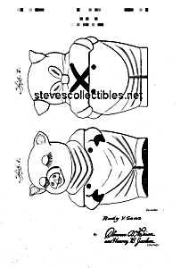 Patent Art: 1940s Shawnee Smiley Cookie Jar - Matted