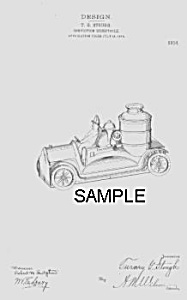 Patent Art: 1910s Firetruck Candy Container - Matted