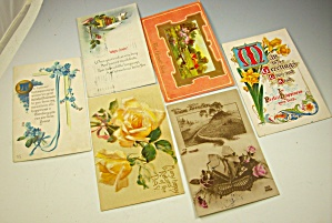 Box Lot Of 18 Early Floral Postcards - Antique