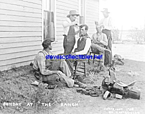 C.1908 Cowboys Getting Haircuts On Ranch Photo - 8 X 10