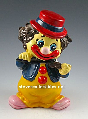 1970s Colorful Clown Hard Vinyl Toy Bank