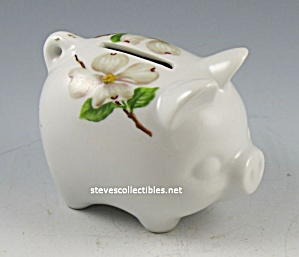 Vintage Hand-painted Dogwood Piggy Bank