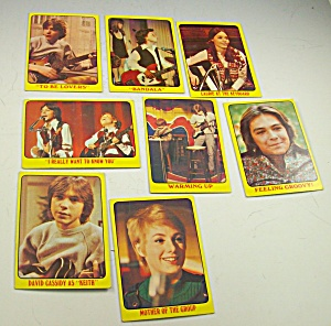 1971 Partridge Family 8 Yellow Collector Cards Lot 1