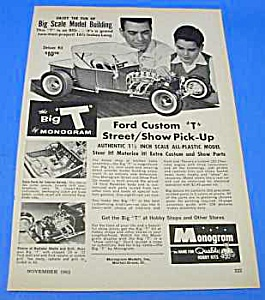 1962 Monogram Ford Custom 't' Toy Model Kit Ad