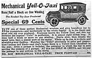 1929 Yell-o-taxi Wind-up Toy Ad
