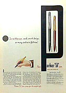 1952 Parker 51 Pen Color Ad
