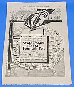 1918 L.e. Waterman Fountain Pen Ad