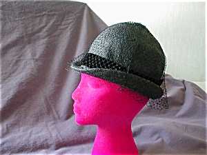 Black Velvet Ribbon And Net Straw Hat