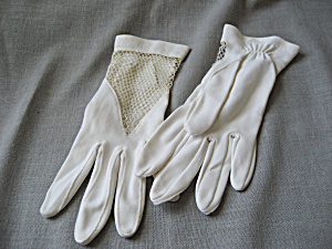 Vintage White Net Gloves
