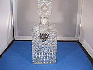 Pressed Glass Decanter With Metal Label