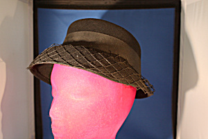 Black Felt And Net Hat