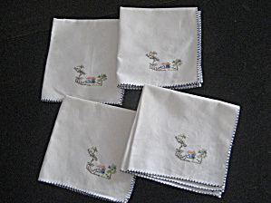 House Scene Embroidered Napkins