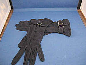 Blue Rayon Buckled Gloves